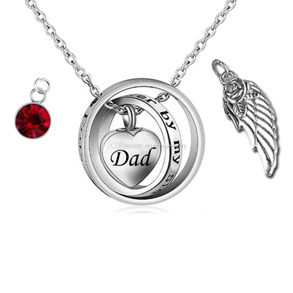 81c58466f610a Angel wings Heart Cremation Urn Necklace Birthstone Ashes Urn Jewelry for  Family-No Longer by My Side,Forever in My Heart