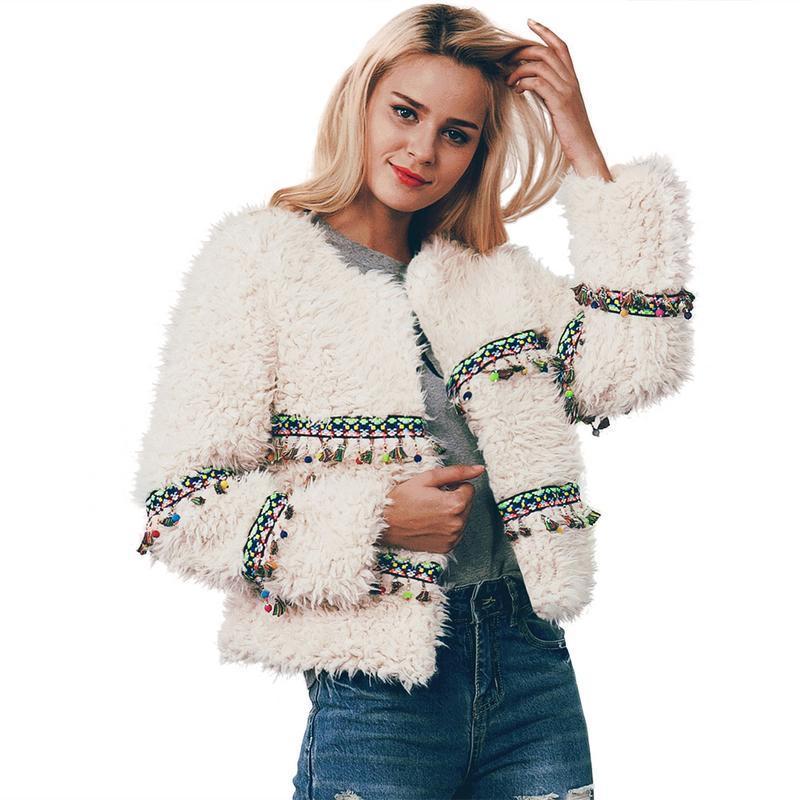 1b464869126 2019 Fringe Faux Fur Coat Warm Winter Coat Plus Size L 3XL Women ...