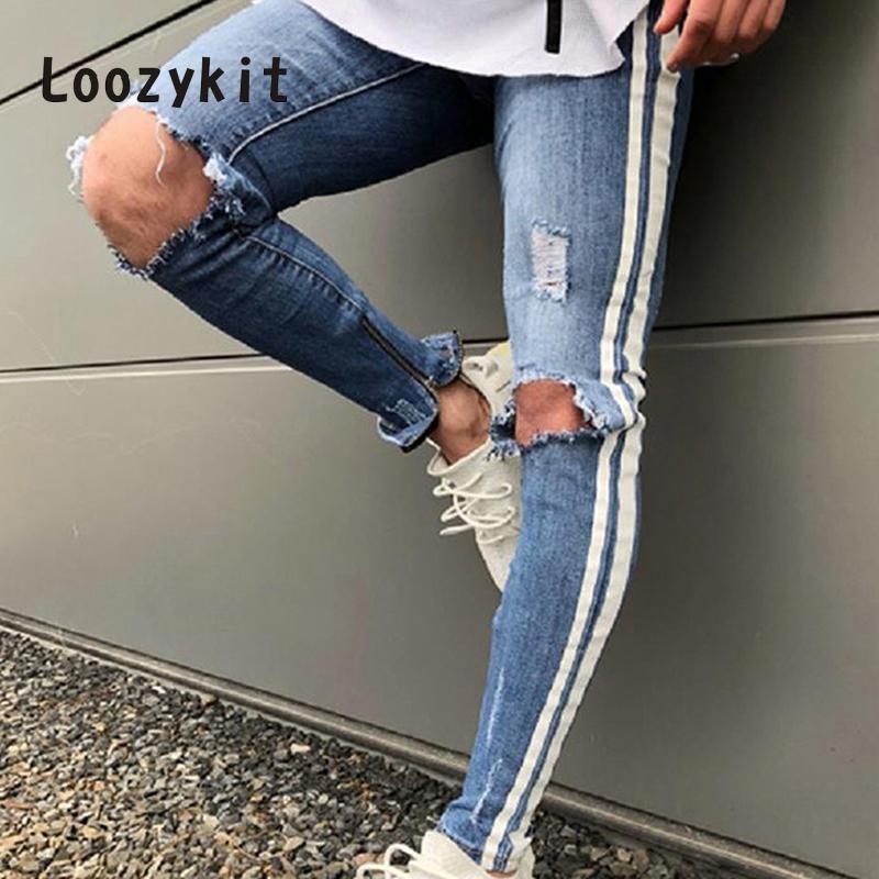 Compre LOOZYKIT Rasgado Lápis Vaqueiro Calças Buracos Homem Zíper Stripe  Jeans Para Homens Denim Skinny Calças Masculinas Pantalon Mezclilla Hombre  De ... a4242e69aa8