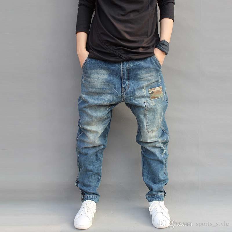 Mezclilla Pantalones Pantalón Camuflaje Para Tamaño Hombre Grande Entrepierna Harem De Jean Vaqueros Goteo Vaquero A34R5Lqj