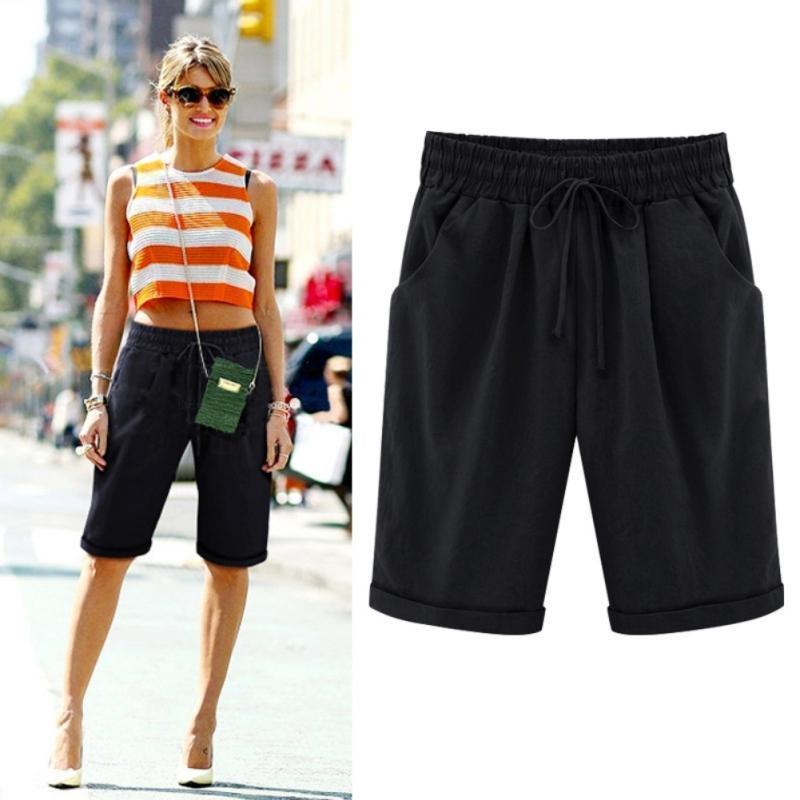199846e6b Tallas grandes Nuevas mujeres del verano Shorts de algodón Pantalones  cortos sólidos 2XL Lady Casual pantalones cortos de lino para las mujeres