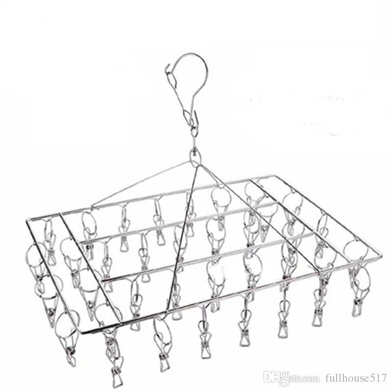 2019 36 Clips Metal Clothespins Stainless Steel Laundry Drying Rack