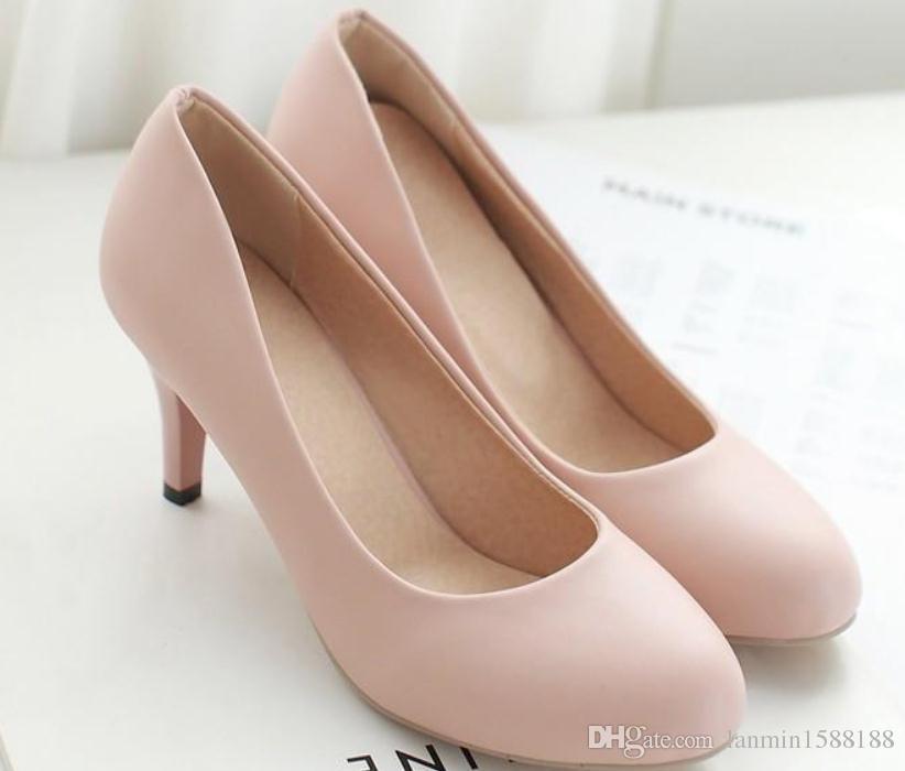 58bda1db4 Compre 2019 Sapatos Femininos Na Primavera E Outono Com Novo Estilo Salto  Alto Salto Fino Cabeça Redonda @ 101 De Lanmin1588188, $31.16 |  Pt.Dhgate.Com