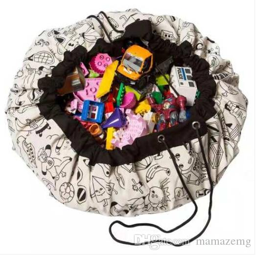 2019 Free shipping Wholesales Doodling Play Mat Toy Storage Bag Organizer Drawstring for Kids Toys