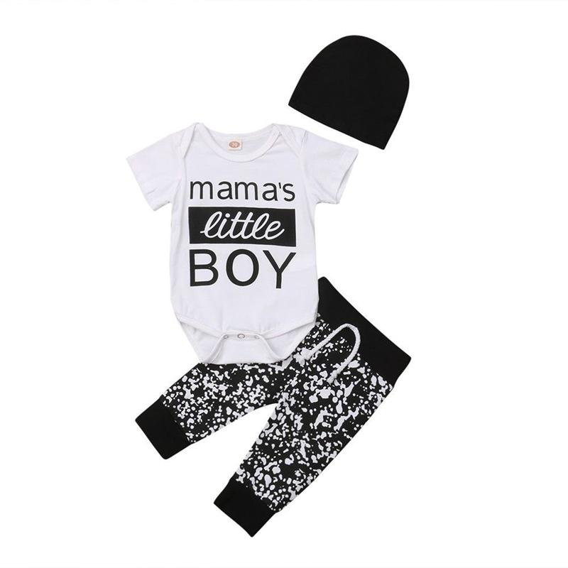 75539f5365 3pcs Fashion Baby Boy Clothes Set Summer White Letter Printed Tops Short  Sleeve Romper Jumpsuit Dot Floral Pants Boys Outfit Set