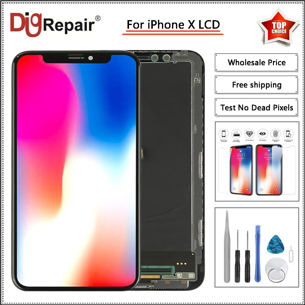 premium selection 3d296 59497 Black For iPhone X LCD Display Touch Screen Full Assembly Digitizer Parts  For iPhone X Display For iphone x screen replacement