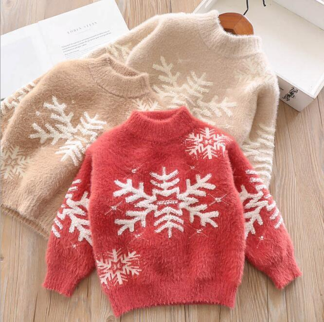 1e10815352a6 Christmas Girl Knitted Flower Sweaters Winter Warm Fashion Jumper ...