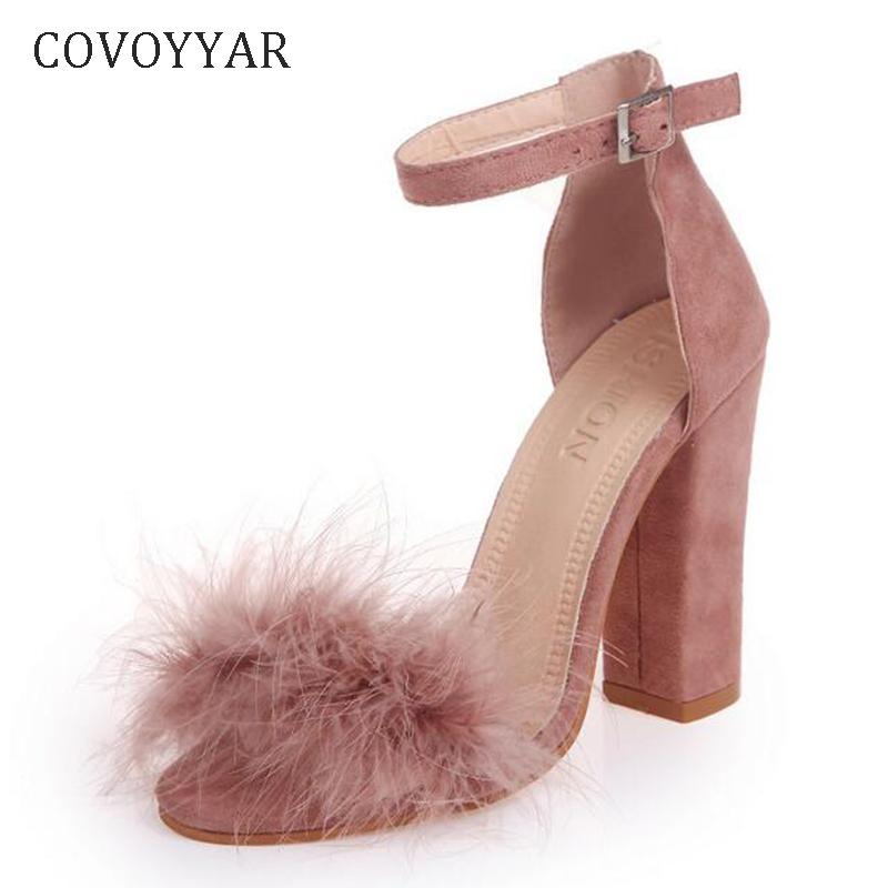 30c6d3b5210a2 Covoyyar Ankle Strap High Heels Faux Fluffy Rabbit Fur Women Sandals 2019  Thick High Heel Party Wedding Summer Lady Shoes Whh118 Women Shoes Boots  For Men ...