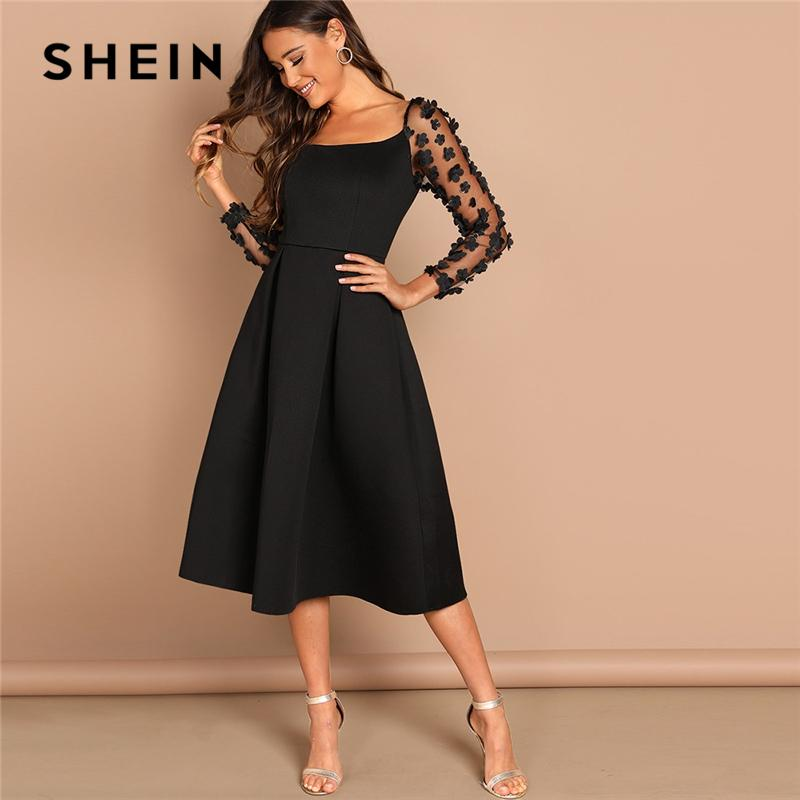 b554718781 2019 Shein Night Out Black Contrast Mesh Appliques Pleated Square Neck Knee  Length Dress Autumn Modern Lady Workwear Women Dresses Q190415 From Tai03,  ...