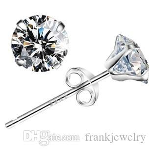 806e91e6a Solid 925 Sterling Silver Prongs Earrings AAA Cubic Zirconia with Jewelry  Box High Quality Wedding Earrings Online with $12.56/Piece on  Frankjewelry's Store ...