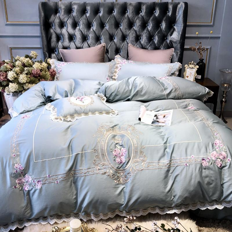 luxury embroidery blue lace 100s egyptian cotton bedding sets queen rh ca dhgate com
