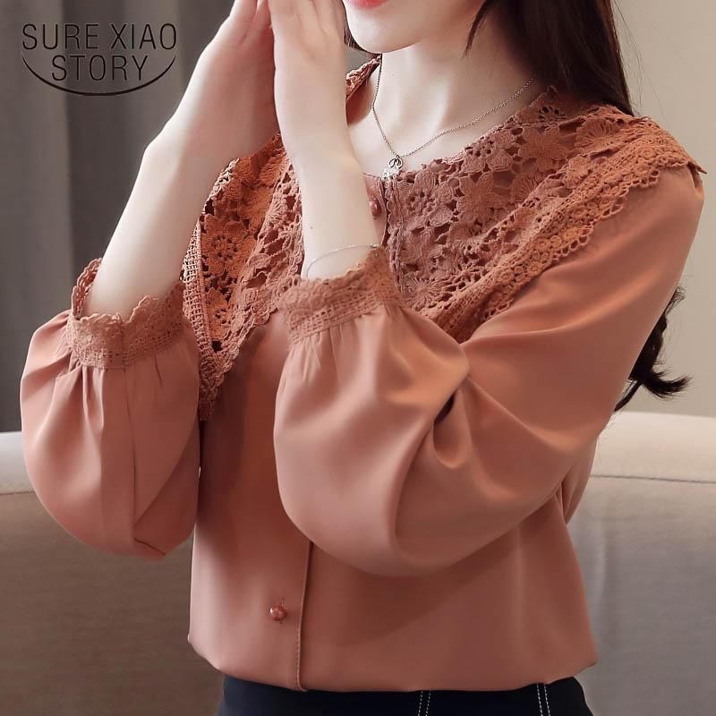 Round neck women lace chiffon 2019 spring new clothing long sleeve Lady Puff Sleeve Women Fashion Chiffon blouse top 2443 50