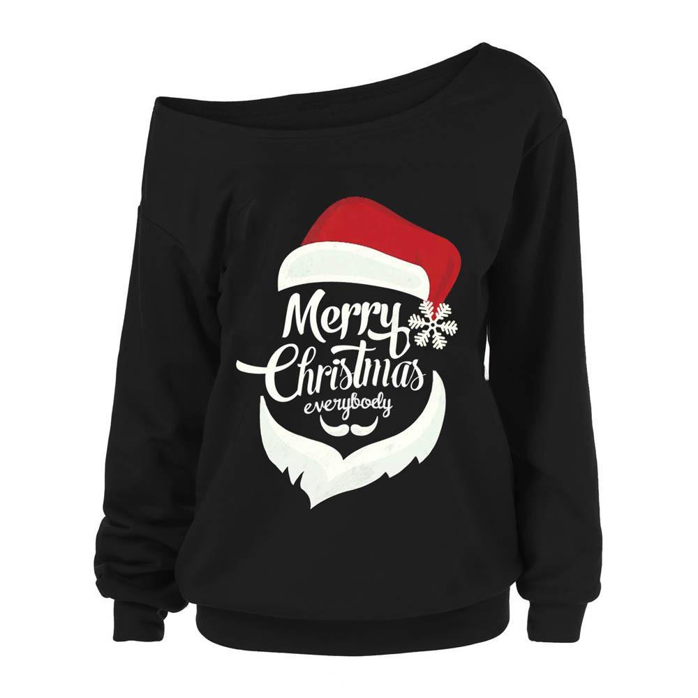 d15e49669e0a0 Feitong Women Christmas Santa Print Sweatshirts Ladies Causal Off Cold  Shoulder Long Sleeve Sexy Tops Pullover sudadera mujer