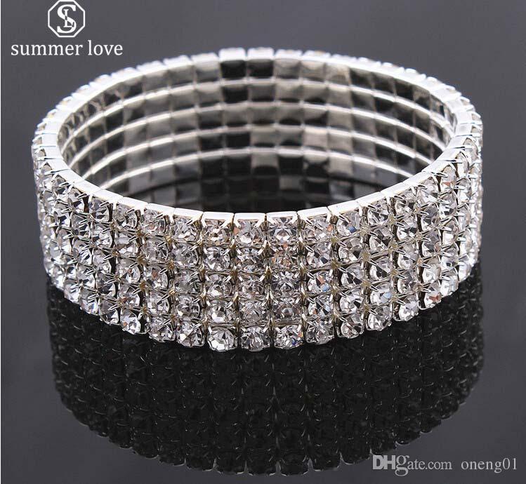 d2fb3051d Elegant Bride Shining Rhinestone Silver Color Wedding Bracelet for ...