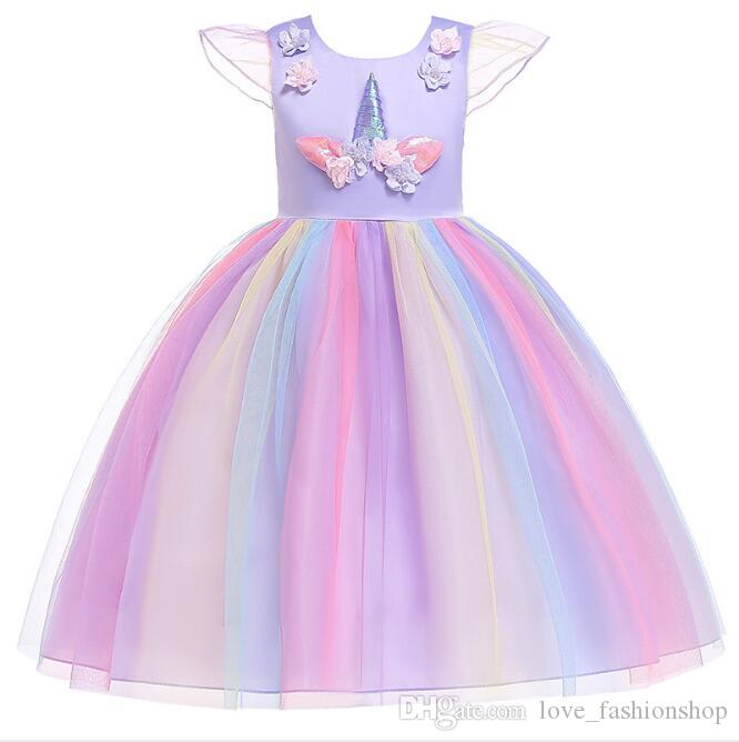 1 unids 2019 Flower Girls Unicorn Appliqued Princess Dress Rainbow Ruffle Vestidos Niños Pascua Cosplay disfraces Ropa niños boutique