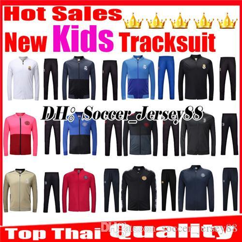 2019 Kids 2018 2019 Tracksuit Kits Training Suit Jacket Real Madrid  Children MUNICHEY PSGER RONALDO SOCCER JERSEY Survetement Football Kits  Shirt From ... 3e5b30b5f