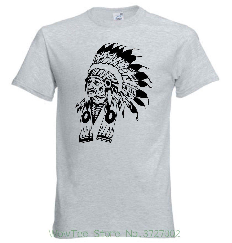 5901a3dcb7dee6 Graues T-shirt Indianer , Indianer Kopf Gk024 Men's High Quality Custom  Printed Tops Hipster Tees