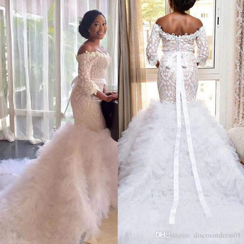 2019 Gorgeous Off The Shoulder Plus Size African Wedding Dress Lace ...