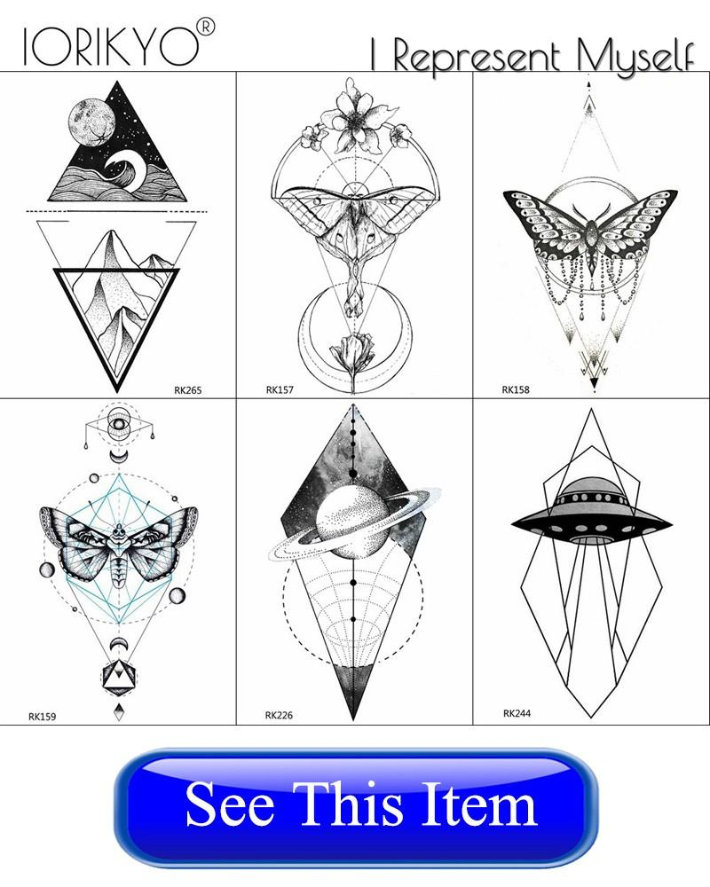 IORIKYO Fashion Flamingo Temporary Tattoo Women Makeup Planet Tattoo Arm Stickers Men Geometric Birds Waterproof Tatoos Adults