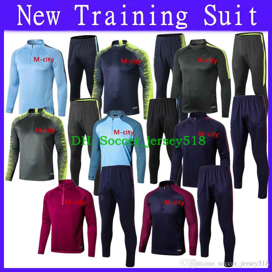 reputable site 5107e cf8f8 :)Free Shipping 2018/19 Man City Training Suit Kit Tracksuit Soccer Jacket  18 19 Thai Quality DE BYUYNE KUN AGUERO Football Set City Jacket