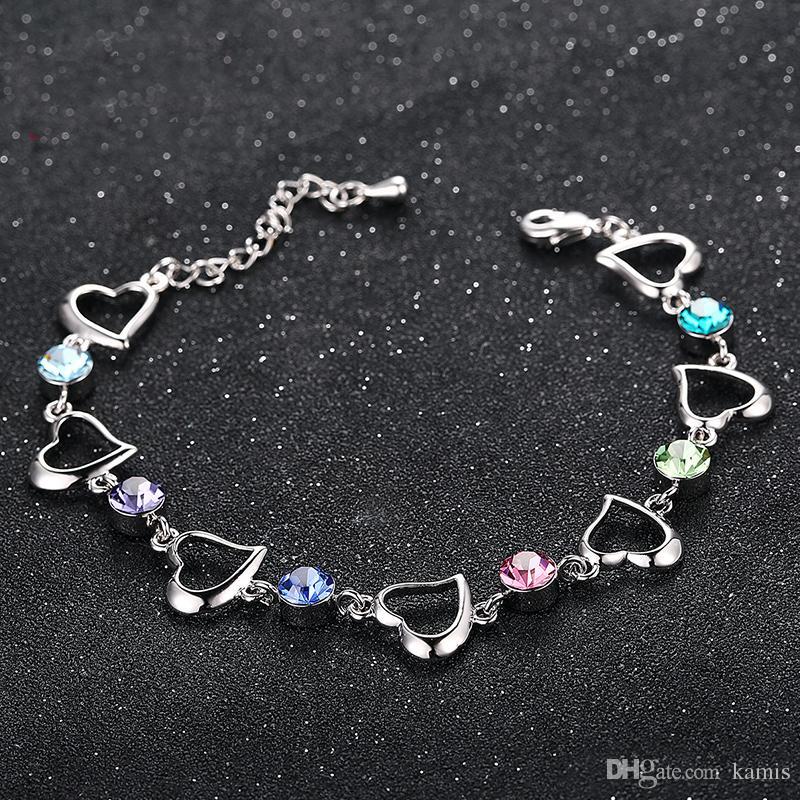 d966945d9 High Quality Crystals from Swarovski Heart Charm Bracelet & Bangle ...
