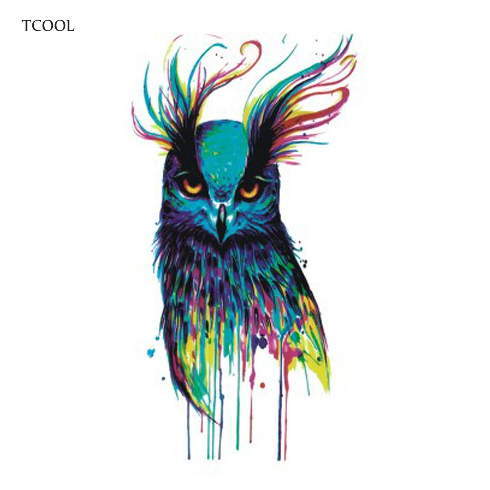 TCOOL Watercolor Owl Women Temporary Tattoo Sticker Tattoos for Men Fashion Body Art Kids Hand Fake Tatoo 10.5X6cm A-224