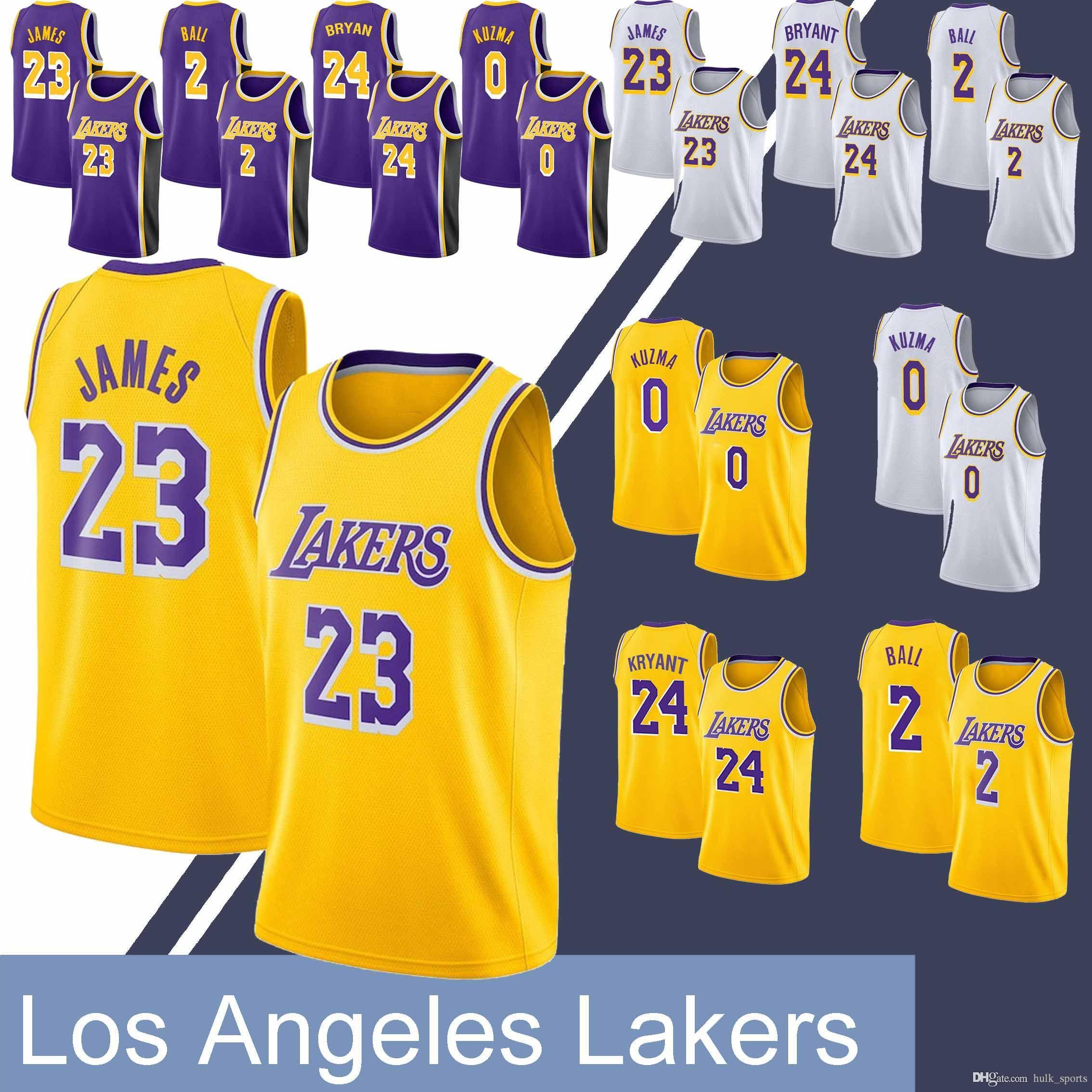 best service 1d25f c9182 23 LeBron James jersey Laker jerseys 24 Bryant 0 Kuzma 2 Ball Hot sale 2019  men basketball jerseys