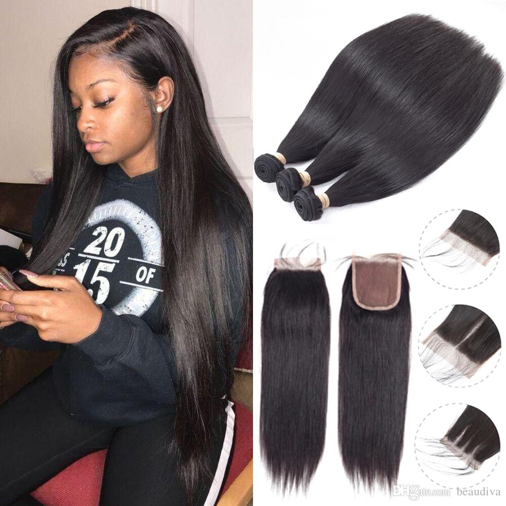 Beau Diva Wholesale Brazilian Virgin Hair Bundles With Closures Straight Human Hair Bundles With Closure No Shedding No Tangle