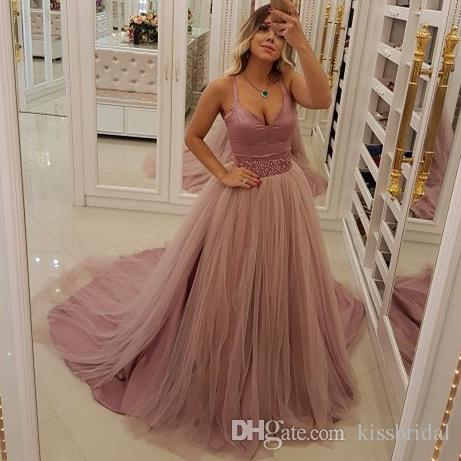 8eed8fe3ad6 Blush Pink Prom Dresses 2019 Spaghetti Bead Waist Tulle Evening Gowns  Cocktail Party Ball Bridesmaid Dress Special Occasion Formal Gown Long Prom  Dresses Uk ...