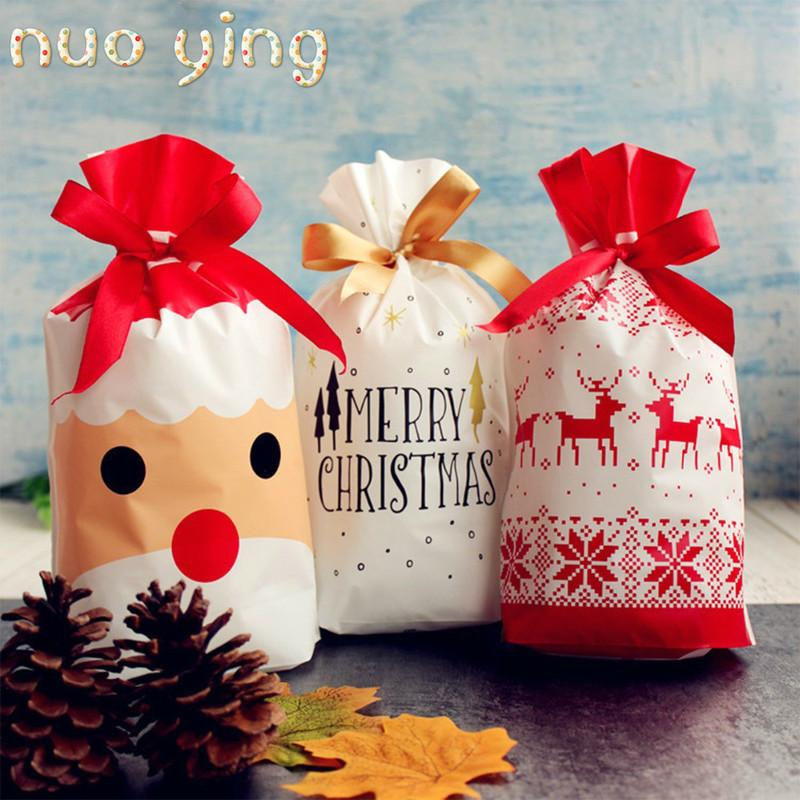 10pcs/1sets Merry Christmas Gift Bags Santa Claus Xmas Tree Packing Bags Happy New Year 2020 Christmas Candy Bags