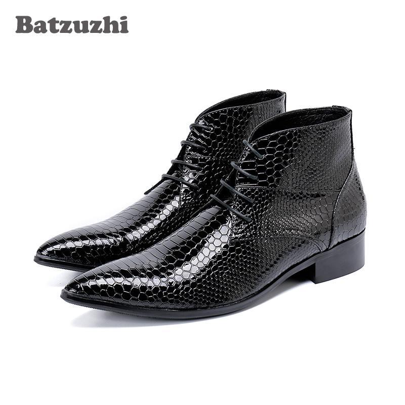 8a545ab487e Korean Type Men Boots Fashion Pointed Toe Men Ankle Boots Botas Hombre  Lace-up Dress Boots Business, Party, Pluz Size