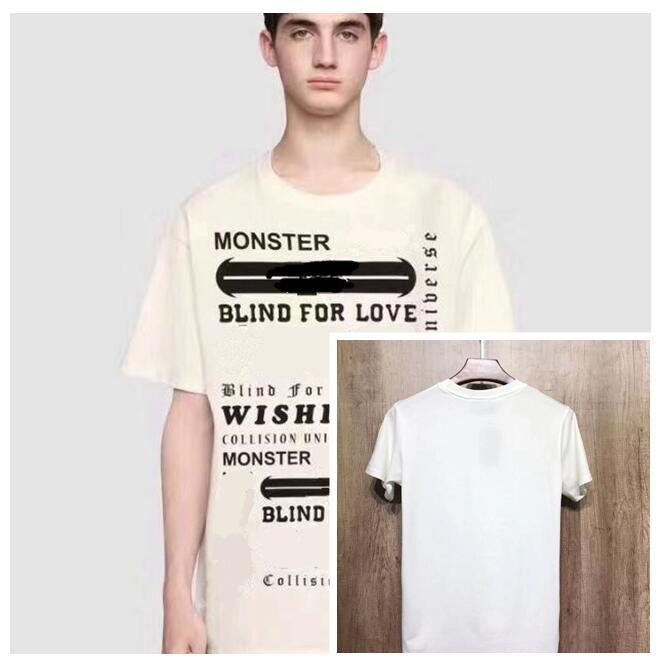 eacc7e8c9 19ss Luxury Europe Italy High Quality Gothic Words Print Blind For Love  Monster Tshirt Fashion Women Designer T Shirt Casual Cotton Tee Top Random  Funny T ...