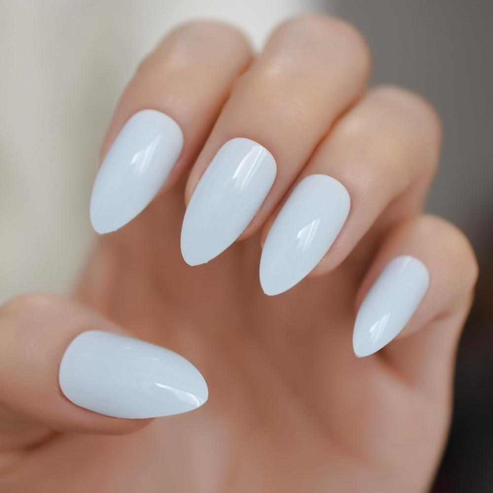 Light Blue Stiletto Press on False Nail Soft Blue UV Gel Acrylic Full Cover  Pointed Fake Nails Free Glue Tapes Sticker
