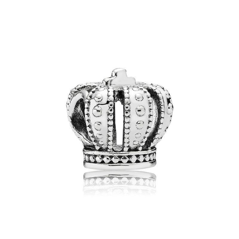 ae0ad2325ccf Clásico Conjunto de dijes de corona de plata de ley 925 caja original para  pandora bricolaje pulsera perlas europeas encantos accesorios de joyería