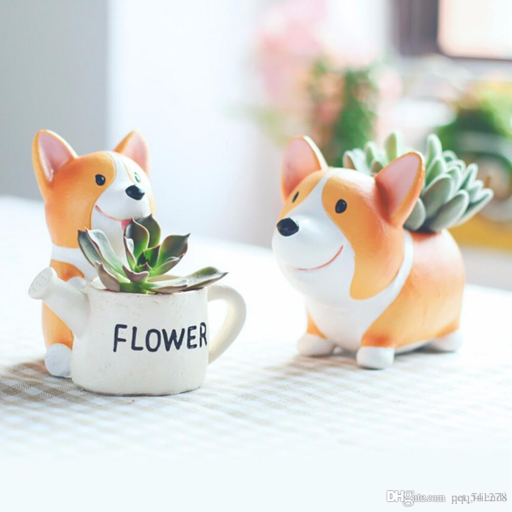 Resin Small Flower Pot Planter Corgi Garden Plants Succulents Bonsai Potted Flowers Desk Garden Supplies