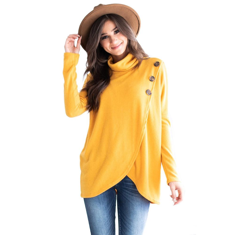 53aa8e5ea1 Compre Camiseta De Manga Larga Con Cuello Alto Para Mujer 2019 Primavera  Nueva Llegada Lindo Borgoña Azul Rosy Top Túnica Amarilla A  20.99 Del  Jc801 ...