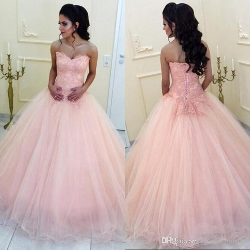2019 Arabic Prom Dresses Long Formal Dress Blush Pink Sweetheart Sleeveless  Lace Appliques Tulle Floor Length Evening Party Gowns Custom Prom Dresses  ... 0ac19b864d65