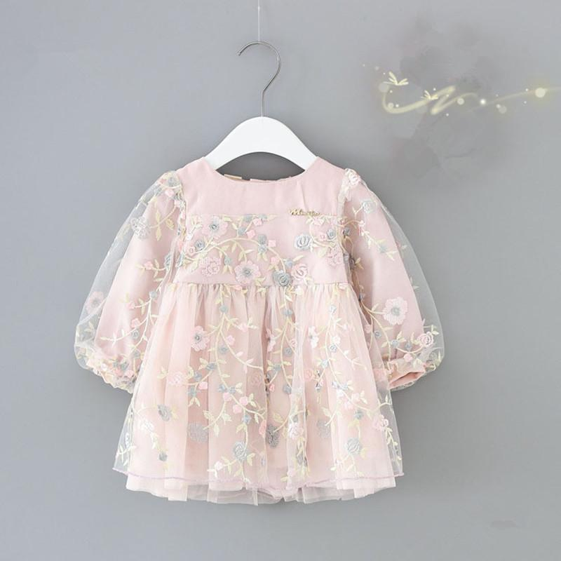 Infant Girls Clothes Autumn Lantern Sleeve Baby Girls Dress Kids Birthday Flowers Embroidery Party Dresses Newborn Princess Wear J190426