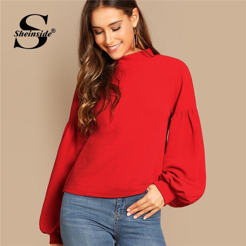 ef83bb9d49 Sheinside Elegant Women T Shirt Button Back Balloon Sleeve Top Red Tee Shirt  Femme 2018 Autumn Shirts Womens Long Sleeve Tops One Day Shirts Themed  Shirts ...