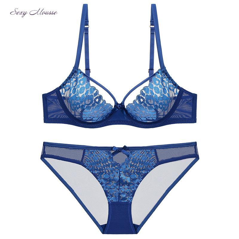 0b1ad8159f7e7b Atacado novo padrão de penas de pavão sutiã transparente push up bra set  preto azul branco lingerie sexy tentação conjunto de roupa interior