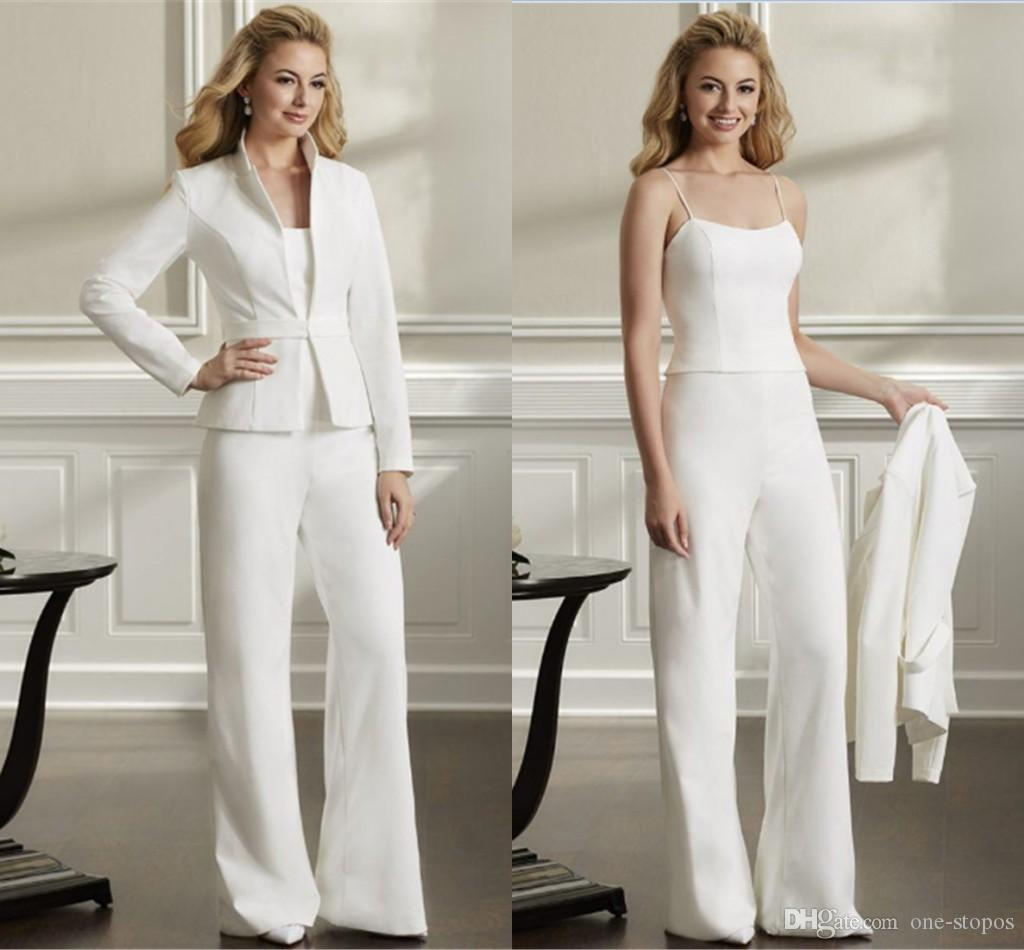 White 3pcs Formal Women Mother Pants Suits Mother of The Bride Pant Suits Office Business Lady Jacket For Wedding Party Bridal Evening Wear