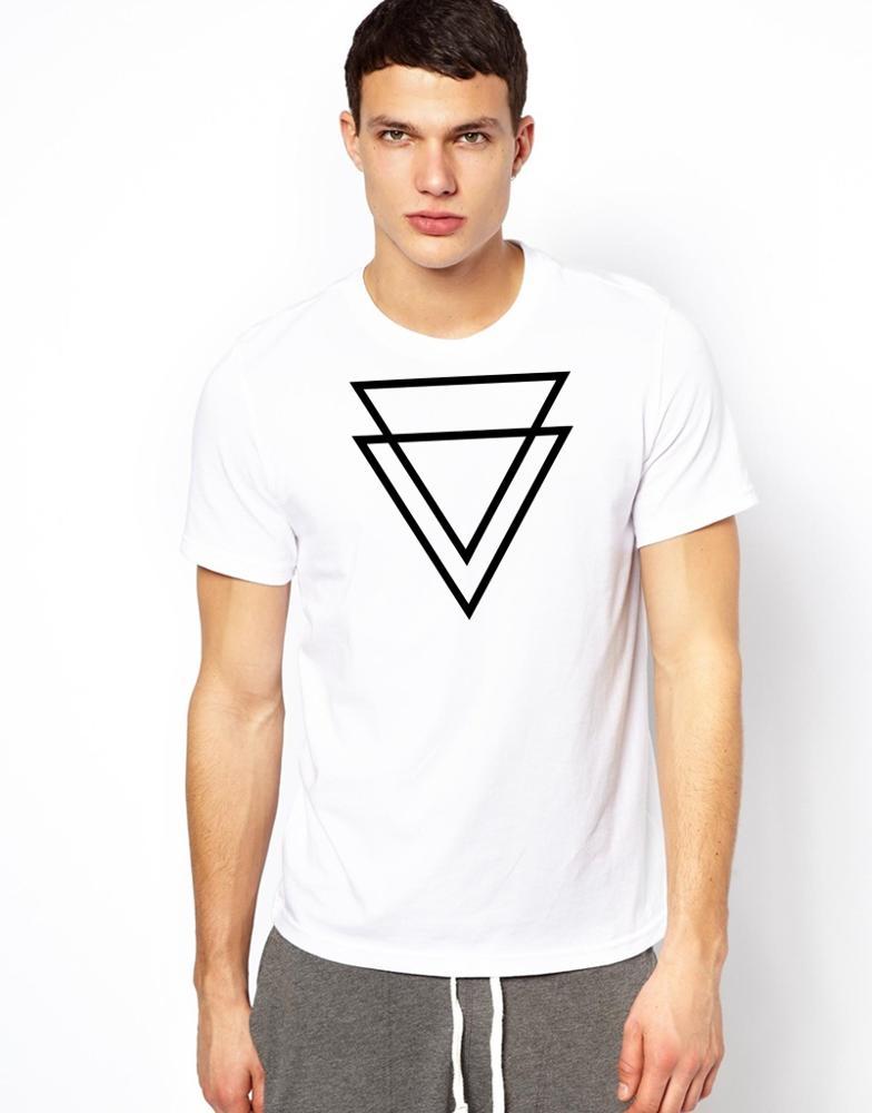 2afc6bcd2 Compre Camiseta Blanca Lisa Con Forma De Triángulo