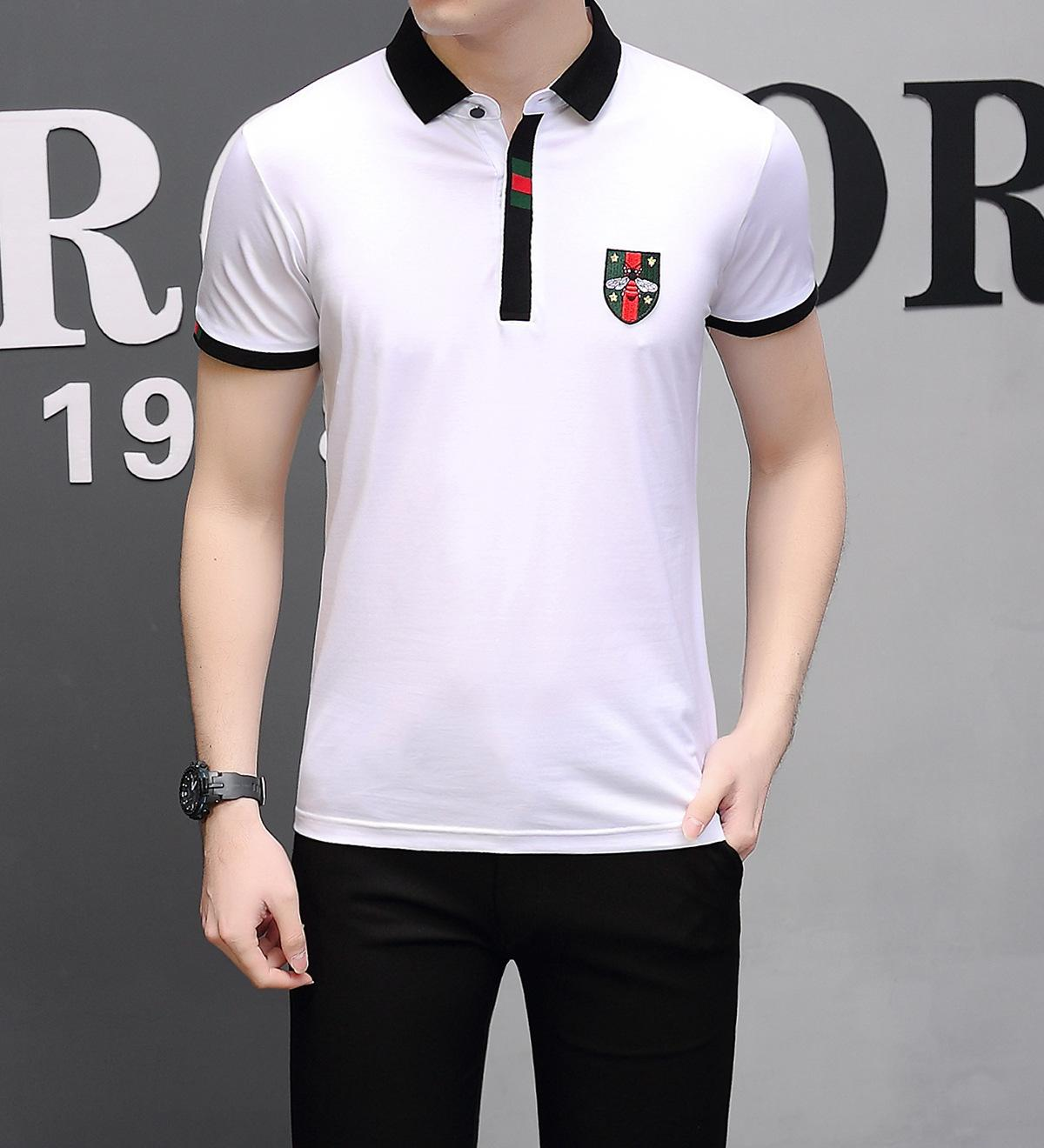 0009a1a910d4 Time Man Short Sleeve Spring Summer New Products Men's Wear Half Sleeve  Pure Cotton Net Color Back Collar Easy T T-shirt