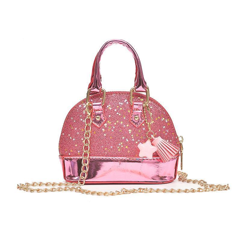 0ad2c3690b26 Designer Cute Baby Toddler Child Shoulder Bags Leather Girls Crossbody Bag  Mini Size Chain Shine Rock Shell Bags Women Small Handbags