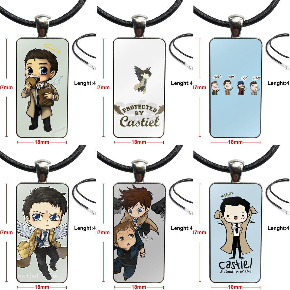 Cartoon Supernatural Tv Logo Glass Pendant Galaxy Pendant Necklace Women Stainless Steel Plated Necklaces Jewelry