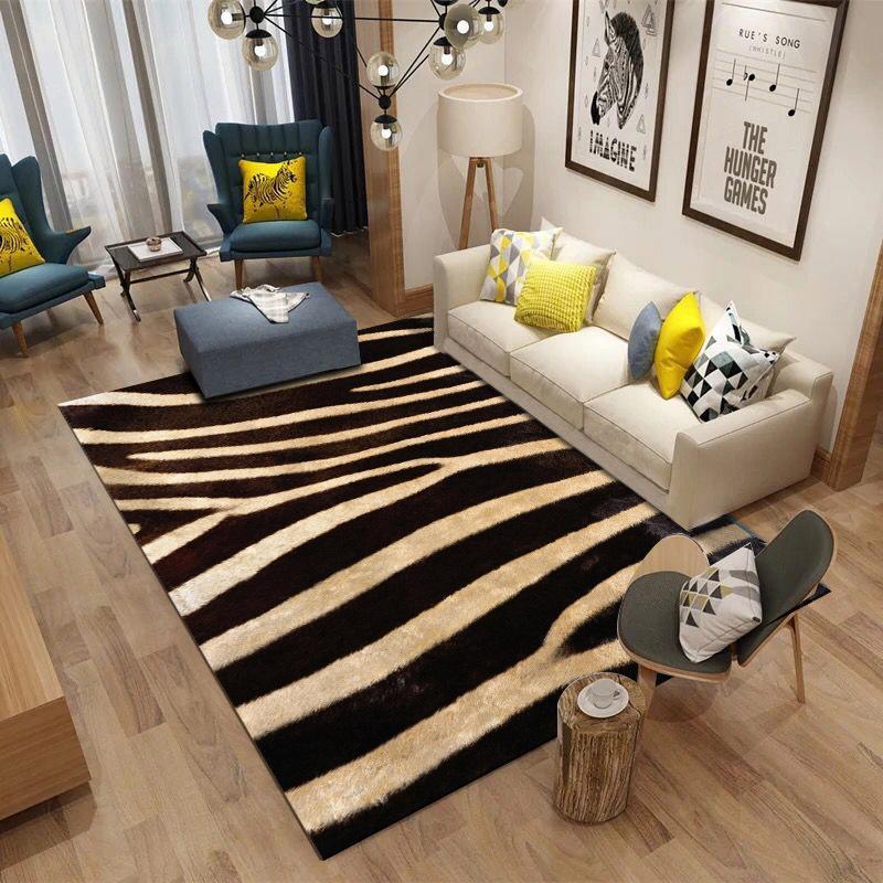 Nordic Living Room 3D Zebra Pattern Carpet Super Flannel Point Plastic  Anti-slip Area Rug Floormat Decor Bedroom Carpets