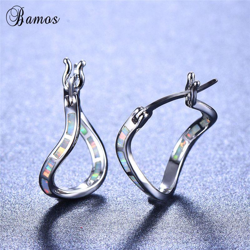 2019 Bamos 925 Sterling Silver Filled Big Hoop Earrings White Fire