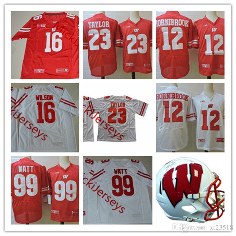 new styles 4da67 10ce7 Mens NCAA Wisconsin Jonathan Taylor Football Jerseys 16 Russell Wilson 99  J.J. Watt 12 Alex Hornibrook Wisconsin Jersey S-3XL