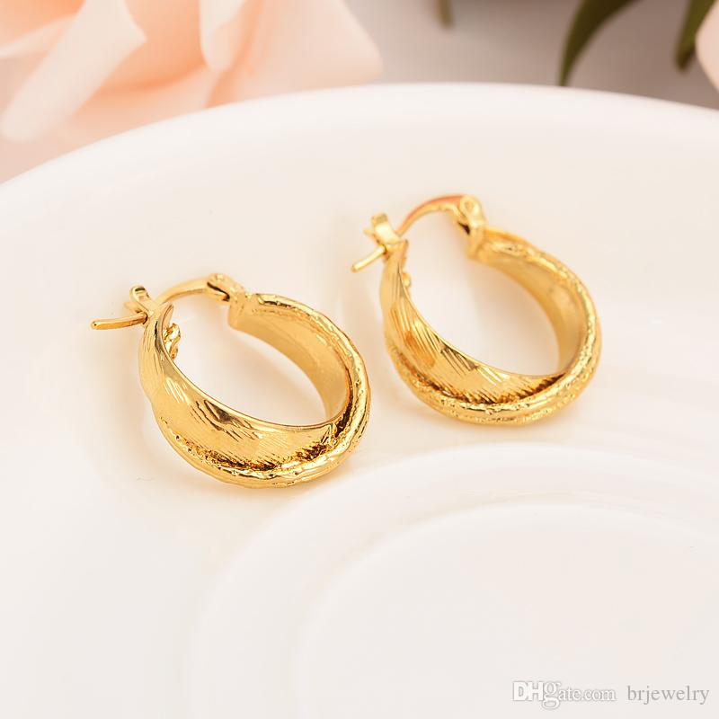 1d3237736ba1c gold jewelry 24k gold plated hoop Earrings Women Party african wedding  bridal Jewelry girls DIY charm girl kids gift
