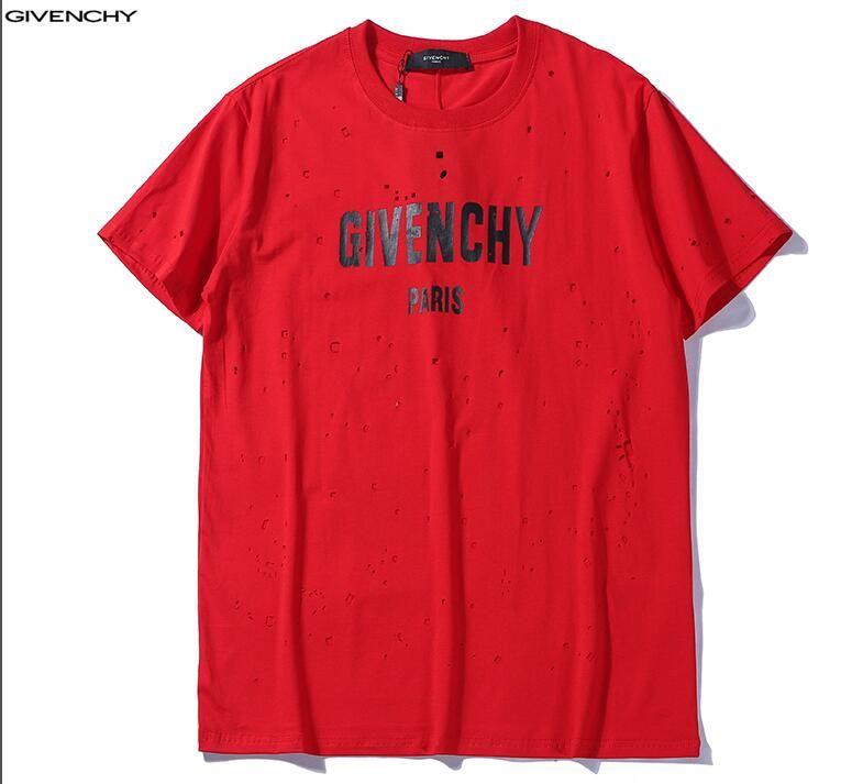 a0885fed7 Summer Street Wear Europe Paris Fashion Givenchy Men'S T Shirts High  Quality Big Broken Hole Cotton Tshirt Casual Women Tee T Shirt S 2XL T Shirt  Deals ...